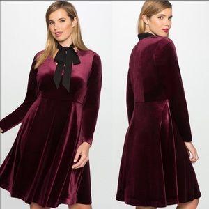 Eloquii Studio Velvet Fit & Flare Dress Size 16